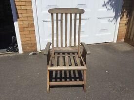 8 x Teak Reclining Garden Chairs