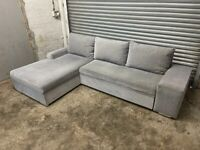 FREE DELIVERY GREY FABRIC CORNER SOFA BED WITH STORAGE GOOD CONDITION