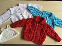 3 new handmade jumpers (4-6) months) + hat