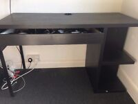 Black IKEA desk with storage and drawer4
