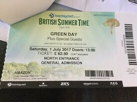 3 x Green Day Tickets at Hyde Park London