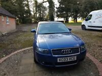 For sale - AUDI A4 2003 Convertible 2.4 engine petrol Sports Automatic Blue 2 door Cabriolet