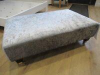 NEW Crushed Silver Velvet Footstool