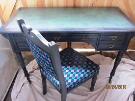 Antique Victorian Ebonised Ladies Writing Desk c1860 Edwardian Painted Chair ***OPEN TO OFFERS***