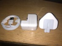 BRAND NEW SEALED 10w original apple adapter and usb cable for iPad,iPhone £20 NO OFFERS.CAN DELIVER