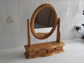 Pine oval shaped dressing table mirror with draw under