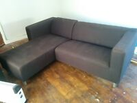 Black Fabric Left Hand L Shape Sofa