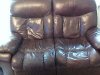 Two seater leather recycling sofa