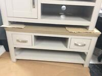 Grey and oak tv unit with drawers new sale