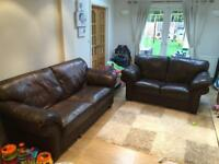 Brown leather sofa, 3 seater and 2 seater