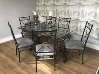 GLASS DINING TABLE PLUS MATCHING SIDE TABLE! MODERN GREY SEATS.