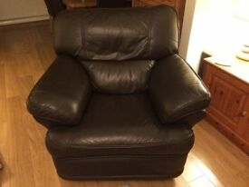 Recliner chair, brown leather