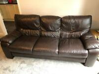 Brown leather DFS sofa