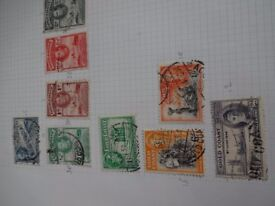 Sheet with various stamps from Gold Coast ( Ghana) dating back to 1942
