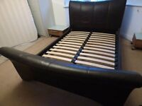 DARK CHOCOLATE BROWN FAUX LEATHER SLEIGH BED (DOUBLE)