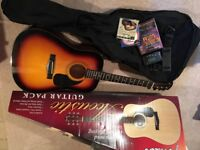 Fender acoustic guitar and pack/case for sale