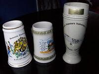 3 Collectable German Bier or Beer Steins