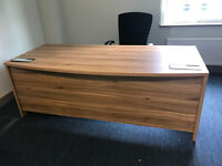 EXECUTIVE 2000 BOW FRONT DESK IN AMERICAN BLACK WALNUT With DRAWS