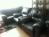 Brown sofa and 2single chairs