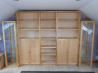 IKEA BILLY BEACH 3 BOOKCASES AND 2 GLASS DISPLAY CABINETS