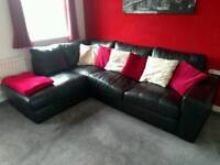 Large corner leather settee