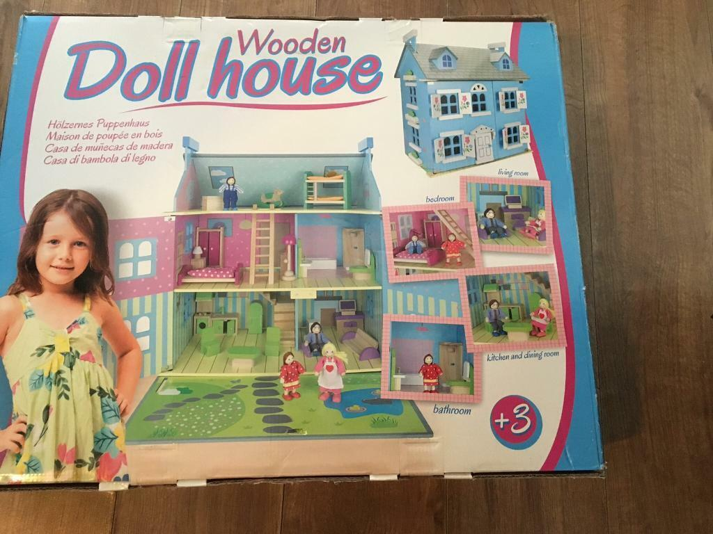 Leomark blue wooden dolls house with furniture