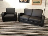 Dark brown real quality leather sofa set BRAND NEW