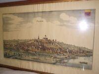 Original coloured engraving, Oppenheim Germany, 1800;s, Theatrum Europeaum