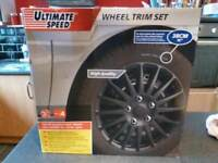 Wheel Trims Black & Chrome For 15inch/38cm Wheels New in Box