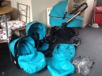 Ocean Blue Full Oyster 2 Travel system carrycot stroller buggy & car seat
