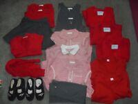 Big Bundle of Girls School Uniform Red/Grey Age 5/5-6 (20 Items)