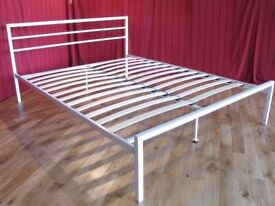 NEW King Size Satin White Metal Bed Frame Base Only - Not Leather, Fabric