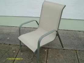 six garden chairs with cover, pale green metal frame, cream weather proof seating, good condition