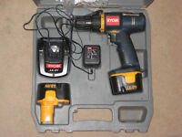 RYOBI CORDLESS DRILL 2 BATTERIES AND CHARGER ALL WORKING WITH CASE