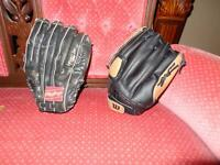 2 baseball gloves