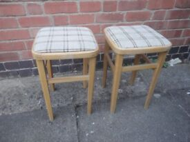 Pair of stool (solid wood+ fibre seating)