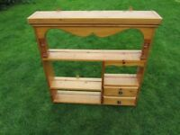 Vintage Pine Wall Shelf Unit with 2 Small Drawers