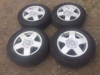 VW Golf MK4 Bora A3 Skoda Seat alloy wheels rims 5x100 15 inch 6j et38 195 65 15 NEW GREAT TYRES Set