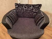 2 seater sofa and swirling snuggle chair