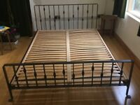 Habitat iron double bed frame and sprung base - as new