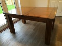 Acacia Wood Extending Dining Table - glass top included