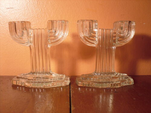 Art Deco Glass Candlesticks - Anchor Hocking Queen Mary 1930s Depression Glass