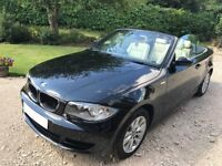 BMW 1 Series 118i Black Convertible Leather Interior Private Plate 12 months MOT perfect for summer