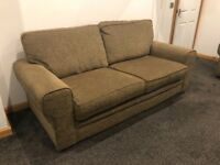 Olive green Vancouver three seater sofa and two armchairs
