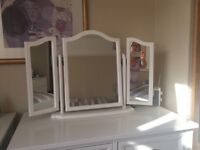 White 3 piece dressing table mirror