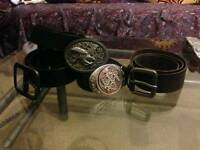 Mens 4 belts with buckles