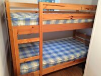 CHILDREN'S BUNK BEDS - solid pine, with mattresses - as new.