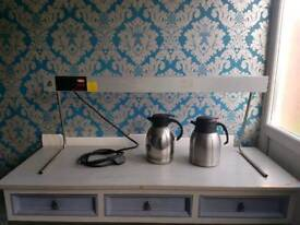 Hatco glo-ray food warmer & 2x stainless coffe/tea pots