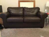 Leather 2 seater sofa - brown, great condition