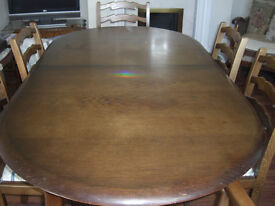 Priory Extending Dining table and six chairs with Priory Dresser
